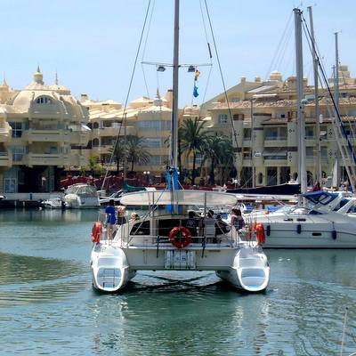 Catamaran dolphin tour guides with Hen Weekend Marbella on the Costa del Sol