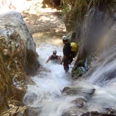 Marbella Hen Weekend Guided Canyoning Tour in the Benahavis valley