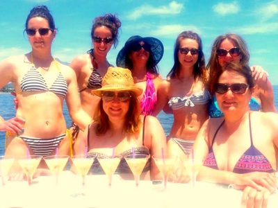 Cocktails on the boat with hens in Marbella.