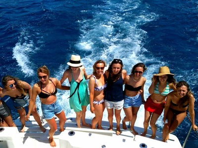 Group hen photograph on a charter boat, Benalmedena