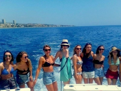 Out at sea along the Marbella coast with a hen charter boat.
