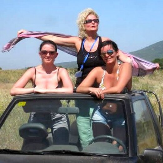 Relaxing for a moment with the girls on a hen weekend in Marbella 4x4 Safari tour