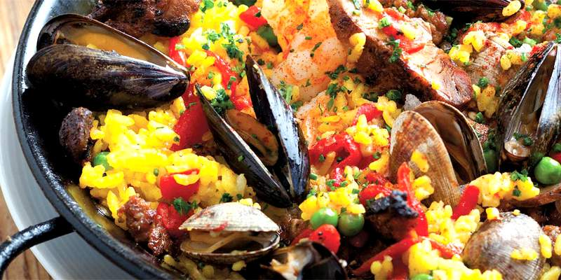 Paella with fish dish